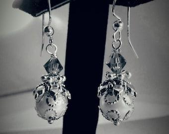 White Pearl Swarovski Earrings