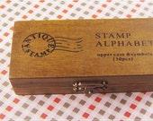 Wooden Rubber Stamp Set - Vintage Alphabet Stamp Set - Rubber Stamps - Uppercase - 30 Pieces