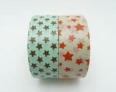 Cute Star Washi Tapes Set of 2 Rolls - 5m Star Masking Tape Gift Wrapping