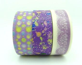 Purple Lace Dots and Graffiti Washi Tape Set of 3 Rolls - 10m Purple Print Masking Tape Gift Wrapping
