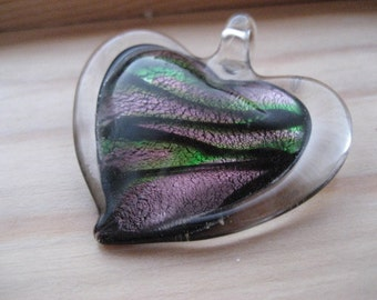 Vintage fused glass heart pendant.  Dicroic glass.