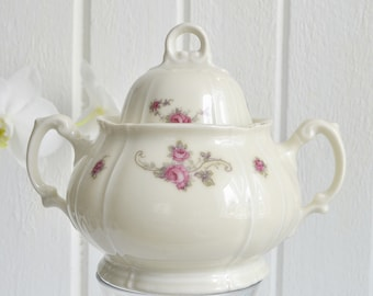 Lidded sugar bowl, vintage porcelain dish , candy bowl, off white chinaware, art deco
