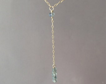 Gold Labradorite Lariat Drop Necklace also in Silver and Rose Gold