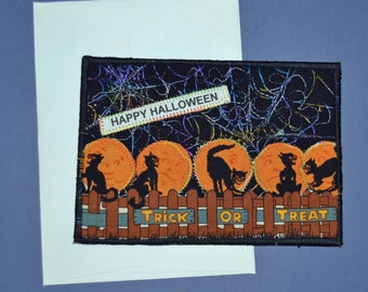 Halloween Cats on a Fence Postcard