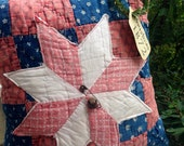 Very Prim Christmas Pillow Tuck~ Christmas 1872~ Vintage Quilts~ Poinsettia~ Primitive Decor