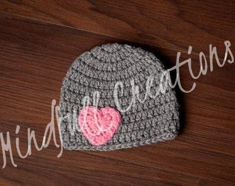 NEWBORN Dark Gray Beanie with Dark Pink Heart
