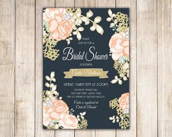 Peachy Rose Bridal Shower or Baby Shower Custom Invitations