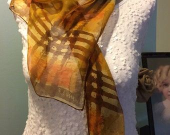 Vintage Vera Neumann Sheer Scarf  Vera Ladybug Signature Scarf Headwrap Brown and Orange Sheer Scarf