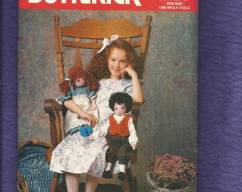 Vintage 1987 Butterick 5751 Brother & Sister Country Folk Rag Dolls Size 22 inch Doll UNCUT