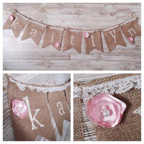 shabby chic birthday baby shower burlap name banner pendant bunting