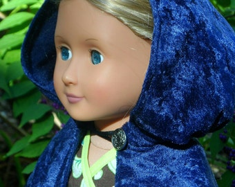 "Navy Blue Cloak Cape for American Girl 18"" Doll Cosplay Ready to ship- Raven Anna Princess Royal Hero Witch Merida Hobbit Elf"