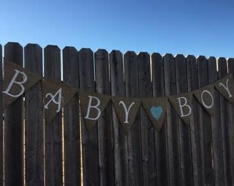Baby Boy Burlap Banner / Bunting