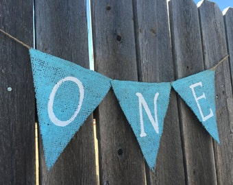 FIRST BIRTHDAY HIGHCHAIR Burlap Banner / Bunting / Decoration