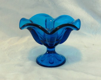 2 Glass Candle Holders Viking Epic Blunique Blue Footed