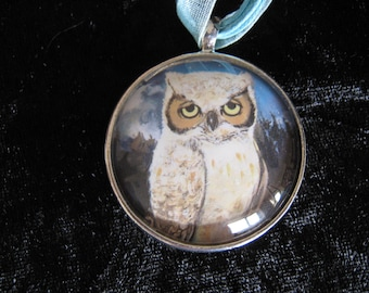 Owl Drawing - 40mm silver plated picture pendant