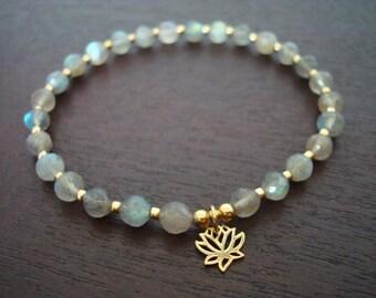 Women's Labradorite Lotus Mala Bracelet // Bronze Lotus Mala Bracelet // Yoga, Buddhist, Jewelry, Meditation, Prayer Beads