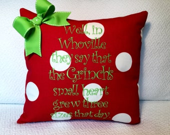 Grinch Christmas Pillow Cover Whoville quote