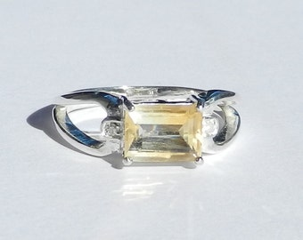 Natural 1.05 Carat Citrine & Diamond Ring set in Solid 925 Sterling Silver