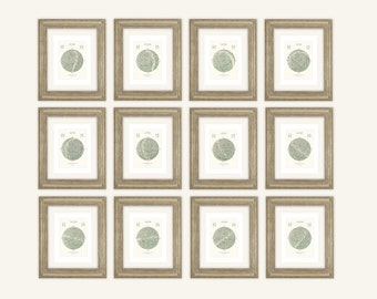Monthly Star Maps in Pale Green, Astronomy, Constellation, Celestial Archival Print on Watercolor Paper