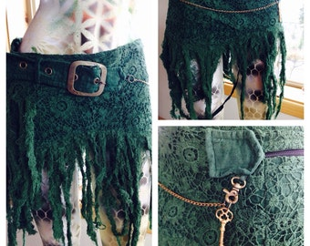 Gypsy  skirt with chain GREEN