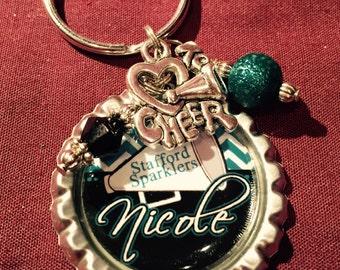 PERSONALIZED Cheer Gift, Cheerleader Key Chain, Cheer Coach, Cheer Squad, CHEERLEADER Dance Sports Jewelry, Team Spirit