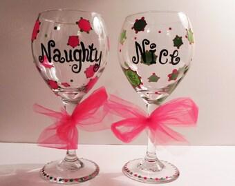Naughty and Nice - Christmas Wine Glass Set
