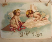 vintage Valetines cherubs'A gift of love'old image sealed onto wood to hang on door,dresser etc.