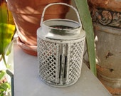 Vintage French,ivory & chateau grey,small metal t light/candle holder with handle.Shabby chic