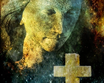 Cosmic Angel Surreal Mystical Pagan Cemetery Angel and Religious Cross, Mortuary Art, Goth Gothic Romance Fine Art Photography Print