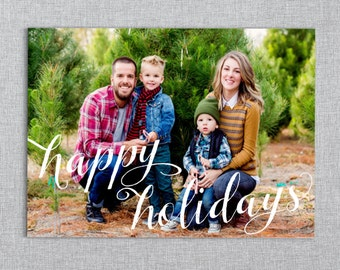 Happy Holidays // Script Christmas Photo Card Template // Double-Sided Christmas Card // Winter Holiday Card // PSD Template