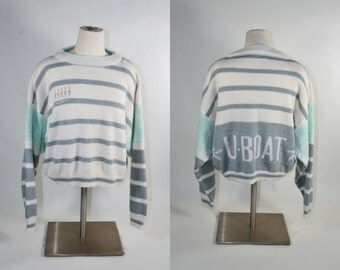"Vintage 80s Striped ""U Boat"" Slouchy Sweater/ Cream Grey Aqua Crew Neck Pullover/Crop Top Sweater Shoulder Pads/ Hip Hop Novelty Top M/L"