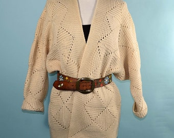 Vintage 60s/70s Cream Boho Hipster Granny Square Cardigan Sweater/Hippie Wrap Front Chunky Sweater Jumper/M