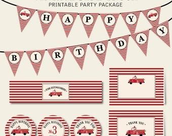 Vintage Fire Truck Birthday Printable Digital Party Package