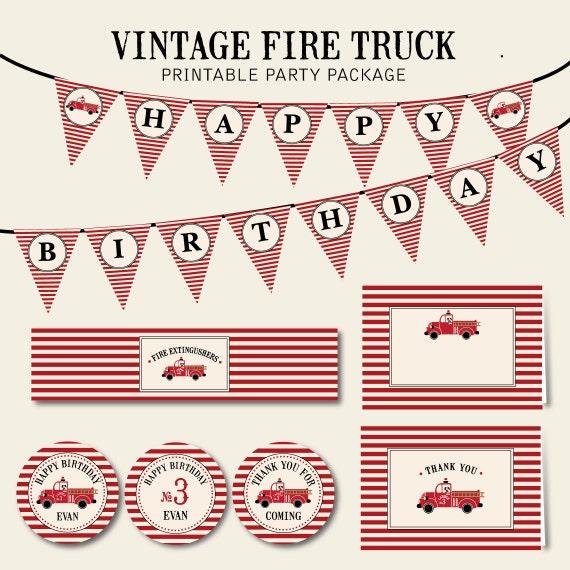 A Vintage Firetruck Birthday Party: Vintage Fire Truck Birthday Printable Digital Party Package