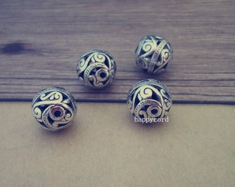 6pcs Antique silver Hollow out  round ball Charms pendant 15mm