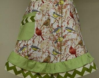Bird Apron, Women's Apron,  Birds Aprons Ready to Ship Half Ruffled Apron