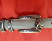 Women's Cream Leather Brighton Belt - Size Medium