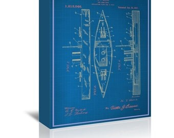 Toy Warship Blue Print Art Ready-to-Hang Premium Gallery Wrap Canvas