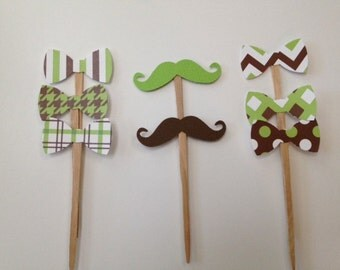 Bow Tie~~Mustache~Cupcake Topper ~Brown White Green