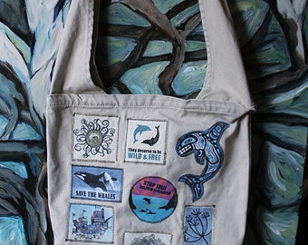 Super patchy dolphin warrior farmer's market bag- Tan ~ raise awareness about dolphin captivity with this pigment dyed farmer's market bag