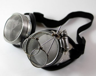"Victorian Steampunk, Mad Scientist costume goggles, ""Dr. Jekyll"" XIX Waspeye protective lenses"