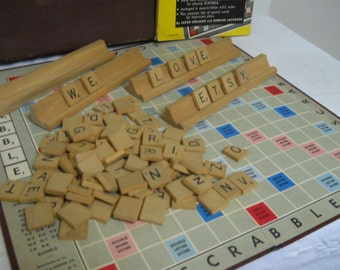 Mid Century Scrabble Game Board, Letters, and Trays in Original Box