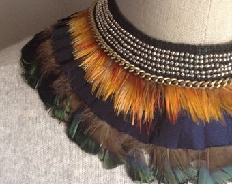 Deluxe Feather Layered Collar Necklace