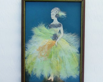 Vintage feather lady picture dated 1928, Art Deco era craft project