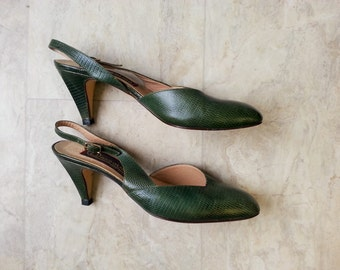 green leather slingbacks size 8
