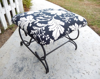 Black & White Footstool - Black Iron Footstool - Upholstered Footstool - Ottoman - French Country Styl