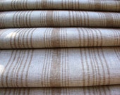 French Ticking Linen Fabric--French Stripe in Sand on Ecru--Flax Linen Fabric--DIY projects