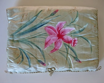 mint green silk book cover - antique French book protector with handpainted pink flowers