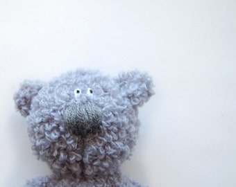 Crochet toy Grey Curly Bear soft stuffed animal for kids