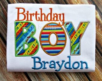 Embroidered, 'Birthday Boy' shirt,  birthday shirt for boys, non-themed birthday shirt, bright colorful shirt for kids
